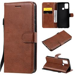 Retro Greek Classic Smooth PU Leather Wallet Phone Case for Huawei Honor 9A - Brown