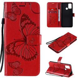 Embossing 3D Butterfly Leather Wallet Case for Huawei Honor 9A - Red