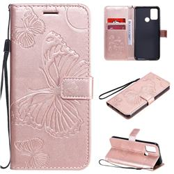 Embossing 3D Butterfly Leather Wallet Case for Huawei Honor 9A - Rose Gold