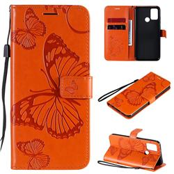 Embossing 3D Butterfly Leather Wallet Case for Huawei Honor 9A - Orange