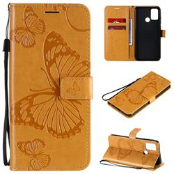 Embossing 3D Butterfly Leather Wallet Case for Huawei Honor 9A - Yellow