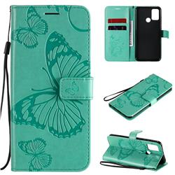 Embossing 3D Butterfly Leather Wallet Case for Huawei Honor 9A - Green