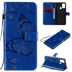 Embossing 3D Butterfly Leather Wallet Case for Huawei Honor 9A - Blue