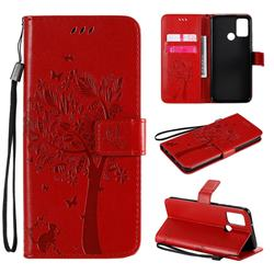 Embossing Butterfly Tree Leather Wallet Case for Huawei Honor 9A - Red