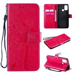 Embossing Butterfly Tree Leather Wallet Case for Huawei Honor 9A - Rose