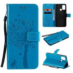 Embossing Butterfly Tree Leather Wallet Case for Huawei Honor 9A - Blue