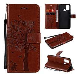 Embossing Butterfly Tree Leather Wallet Case for Huawei Honor 9A - Coffee