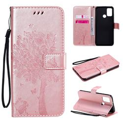Embossing Butterfly Tree Leather Wallet Case for Huawei Honor 9A - Rose Pink