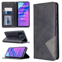 Prismatic Slim Magnetic Sucking Stitching Wallet Flip Cover for Huawei Honor 9A - Black