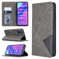 Prismatic Slim Magnetic Sucking Stitching Wallet Flip Cover for Huawei Honor 9A - Gray