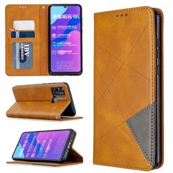Prismatic Slim Magnetic Sucking Stitching Wallet Flip Cover for Huawei Honor 9A - Yellow