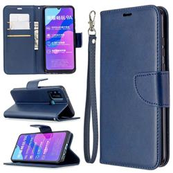 Classic Sheepskin PU Leather Phone Wallet Case for Huawei Honor 9A - Blue