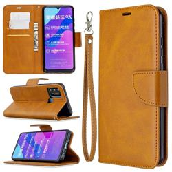 Classic Sheepskin PU Leather Phone Wallet Case for Huawei Honor 9A - Yellow