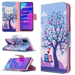 Tree and Owls Leather Wallet Case for Huawei Honor 9A