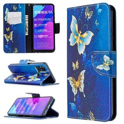 Golden Butterflies Leather Wallet Case for Huawei Honor 9A