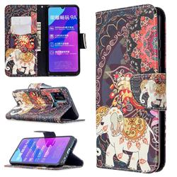 Totem Flower Elephant Leather Wallet Case for Huawei Honor 9A