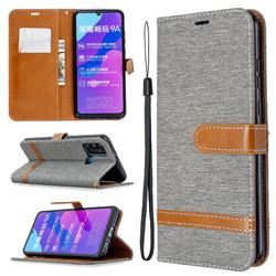 Jeans Cowboy Denim Leather Wallet Case for Huawei Honor 9A - Gray