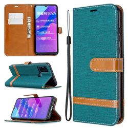 Jeans Cowboy Denim Leather Wallet Case for Huawei Honor 9A - Green