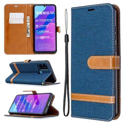 Jeans Cowboy Denim Leather Wallet Case for Huawei Honor 9A - Dark Blue