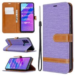 Jeans Cowboy Denim Leather Wallet Case for Huawei Honor 9A - Purple
