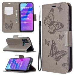 Embossing Double Butterfly Leather Wallet Case for Huawei Honor 9A - Gray