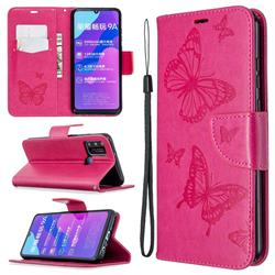 Embossing Double Butterfly Leather Wallet Case for Huawei Honor 9A - Red