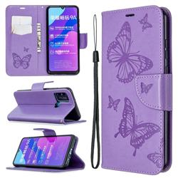 Embossing Double Butterfly Leather Wallet Case for Huawei Honor 9A - Purple