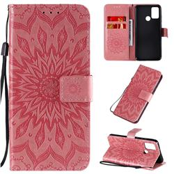 Embossing Sunflower Leather Wallet Case for Huawei Honor 9A - Pink