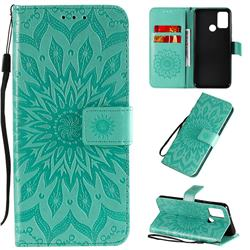 Embossing Sunflower Leather Wallet Case for Huawei Honor 9A - Green