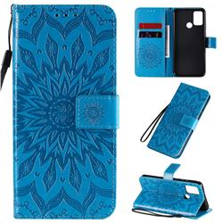 Embossing Sunflower Leather Wallet Case for Huawei Honor 9A - Blue