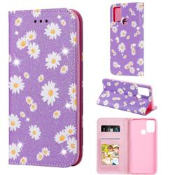 Ultra Slim Daisy Sparkle Glitter Powder Magnetic Leather Wallet Case for Huawei Honor 9A - Purple