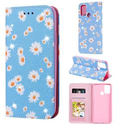 Ultra Slim Daisy Sparkle Glitter Powder Magnetic Leather Wallet Case for Huawei Honor 9A - Blue