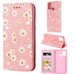 Ultra Slim Daisy Sparkle Glitter Powder Magnetic Leather Wallet Case for Huawei Honor 9A - Pink