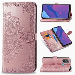Embossing Imprint Mandala Flower Leather Wallet Case for Huawei Honor 9A - Rose Gold