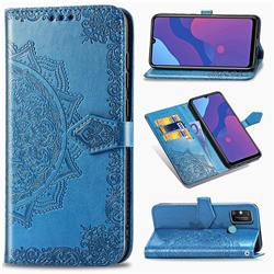 Embossing Imprint Mandala Flower Leather Wallet Case for Huawei Honor 9A - Blue
