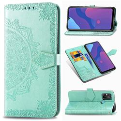 Embossing Imprint Mandala Flower Leather Wallet Case for Huawei Honor 9A - Green