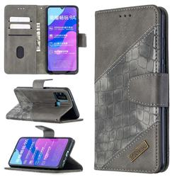 BinfenColor BF04 Color Block Stitching Crocodile Leather Case Cover for Huawei Honor 9A - Gray