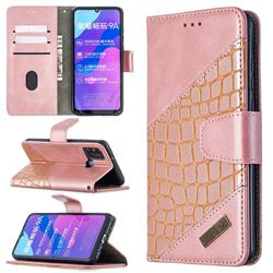 BinfenColor BF04 Color Block Stitching Crocodile Leather Case Cover for Huawei Honor 9A - Rose Gold