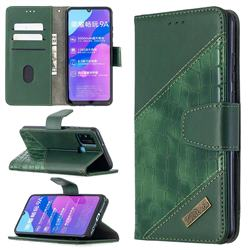 BinfenColor BF04 Color Block Stitching Crocodile Leather Case Cover for Huawei Honor 9A - Green