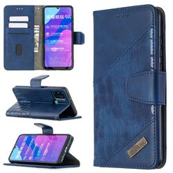BinfenColor BF04 Color Block Stitching Crocodile Leather Case Cover for Huawei Honor 9A - Blue