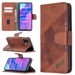 BinfenColor BF04 Color Block Stitching Crocodile Leather Case Cover for Huawei Honor 9A - Brown