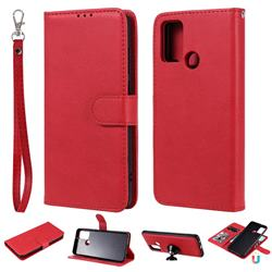 Retro Greek Detachable Magnetic PU Leather Wallet Phone Case for Huawei Honor 9A - Red