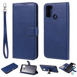 Retro Greek Detachable Magnetic PU Leather Wallet Phone Case for Huawei Honor 9A - Blue