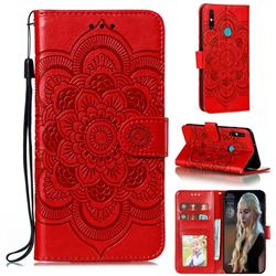 Intricate Embossing Datura Solar Leather Wallet Case for Huawei Honor 9A - Red