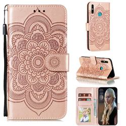 Intricate Embossing Datura Solar Leather Wallet Case for Huawei Honor 9A - Rose Gold