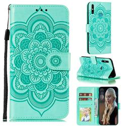 Intricate Embossing Datura Solar Leather Wallet Case for Huawei Honor 9A - Green