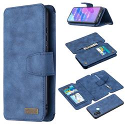 Binfen Color BF07 Frosted Zipper Bag Multifunction Leather Phone Wallet for Huawei Honor 9A - Blue