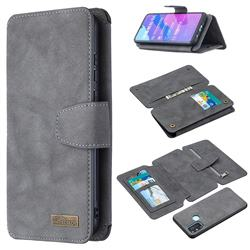 Binfen Color BF07 Frosted Zipper Bag Multifunction Leather Phone Wallet for Huawei Honor 9A - Gray