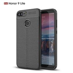 Luxury Auto Focus Litchi Texture Silicone TPU Back Cover for Huawei Honor 9 Lite - Black