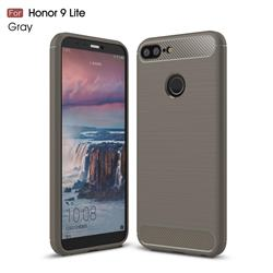 Luxury Carbon Fiber Brushed Wire Drawing Silicone TPU Back Cover for Huawei Honor 9 Lite - Gray
